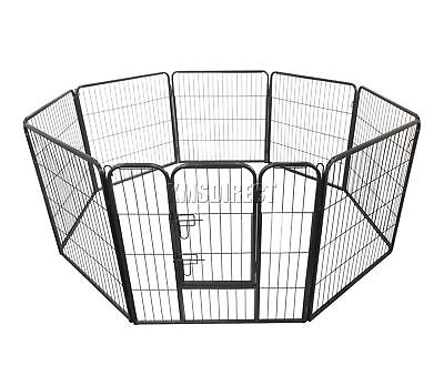 FoxHunter Heavy Duty 8 sided Pet Play Pen Dog Puppy Cage Crate Run Metal MPP-01M