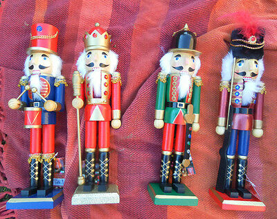 Set Of 2 Large Wooden Christmas Nutcrackers Soldiers Decorations 38Cm H  New