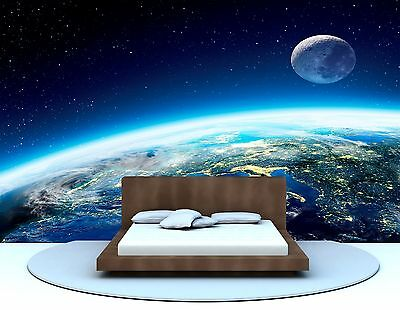 Space Veiw Of Earth & Moon Photo Wallpaper Large Decor Giant Wall Mural