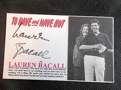 """Lauren Bacall """"To Have And Have Not"""" Autographed 3x5 Index Card A"""
