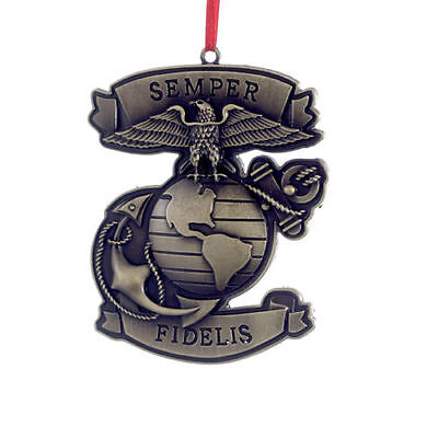 Kurt S. Adler Officially Licensed Metal Semper Fidelis Marine Xmas Tree Ornament