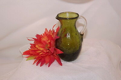 Miniature Avocado Blown Cracked Glass Green Pitcher With Applied Clear Handle