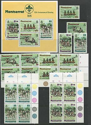 """MONTSERRAT - SG. 436-439 & MS.440 : 1979 """" 50th. ANNIVERSARY of SCOUTING """" ."""