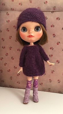 Blythe Doll Outfit - Knitted With Alpaca And Silk Handmade Dress And Hat