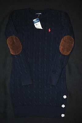 New Ralph Lauren Girls Classic Elbow Patch Cable Knit sweater Dress size M $85