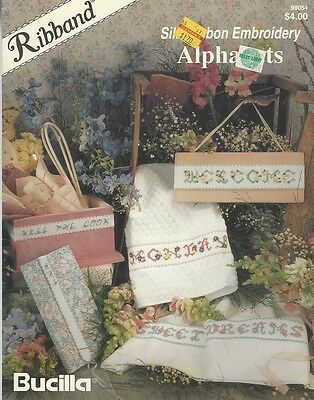 Ribband SILK RIBBON EMBROIDERY ALPHABETS.. by Bucila  Craft leaflet
