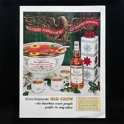 1962 OLD CROW BOURBON WHISKEY Holiday Punch vintage print ad large magazine