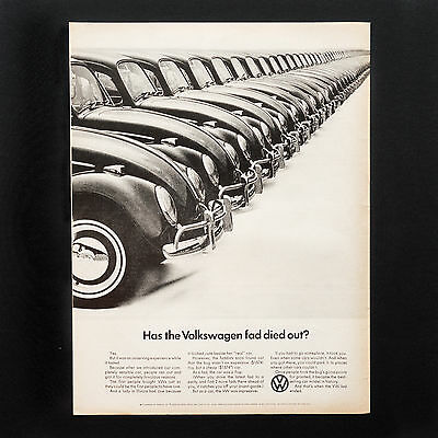 1965 VOLKSWAGEN BEETLE VW Car Fad Died Out vintage print ad large magazine
