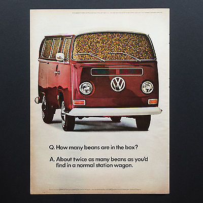 1968 VW VOLKSWAGEN Microbus Wagon Van with Beans vintage print ad large magazine