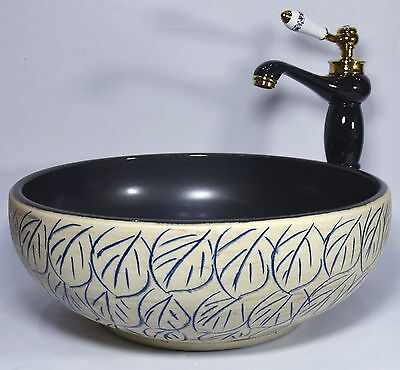 Vintage Bathroom Cloakroom Ceramic Counter Top Wash Basin Sink Washing Bowl