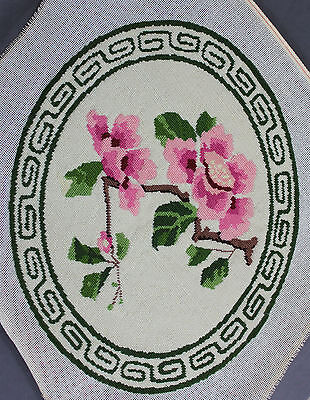 Finished Handmade Needlepoint Tapestry Oval Pink Green Flowers Pillow Chair
