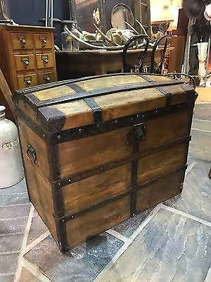 Stunning Vintage Antique French Country Farmhouse Domed Trunk Blanket Box Chest