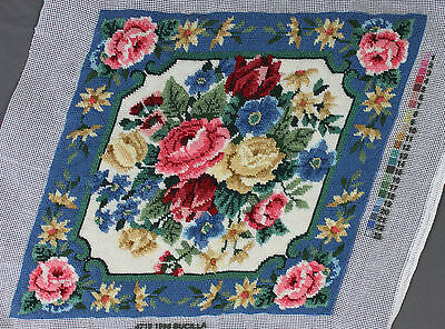Finished Handmade Needlepoint Tapestry Floral Fabric Flowers Blue Pillow Chair
