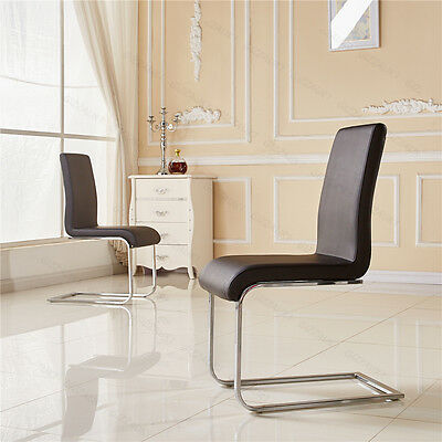 2xLeather Dining Room Chair Modern High Back&Chrome Legs Lounge Furniture Black