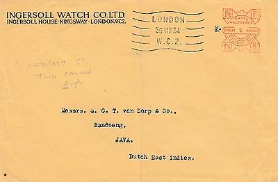 GB KGV 1924  Meter Mark cover.  NeoPost 5 . Two colour pmk