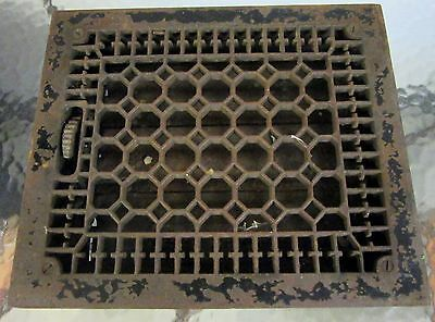"Antique Cast Iron Floor Grate 13 7/8"" x 12"" Heat Grate Register with Louvers"