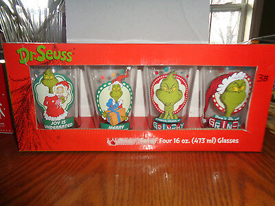 Set of 4 -  Dr. Seuss -  Grinch - Christmas / Holiday Pint Glasses