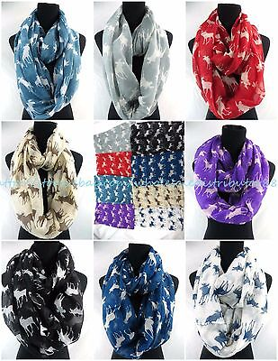 US SELLER-10pcs animal moose elk deer infinity scarf Circular Scarves for Women
