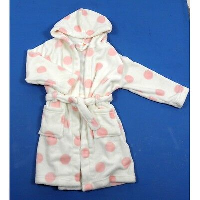 Ex John Lewis Girls Cream & Pink Spotty Hood Dressing Gown Robe 8 10 11 12 Years
