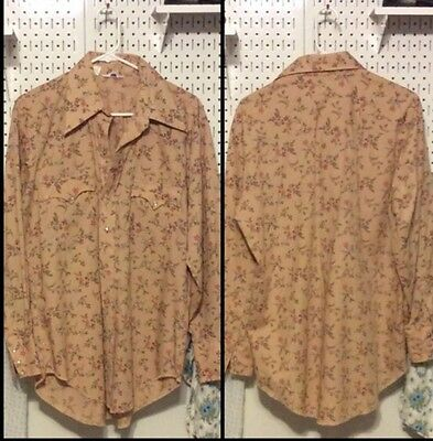 Men's Vintage Button up, Snap Pearl, Soft, Long Sleeve Shirt, Size L