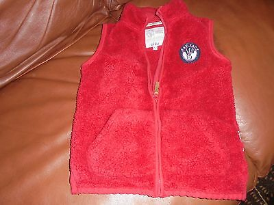 Boys/Girls Fat Face Gilet Red Fleece Zip-Up age 8-9yrs