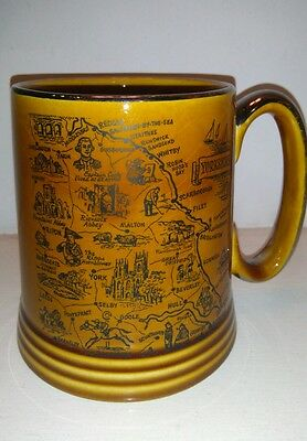 Lord Nelson pottery tankard collectable Yorkshire map