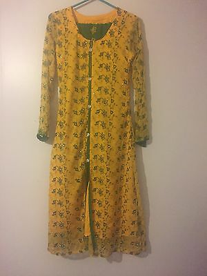 Yellow And Green Trouser Suit/Shalwar Kameez With Diamanté Size 10 UK Size