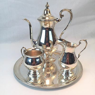 Fisher Silversmith's Sterling Silver 3pc + Tray Coffee / Tea Set