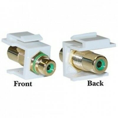 Cable Wholesale Keystone Insert White RCA Female Coupler (Green RCA). Brand New