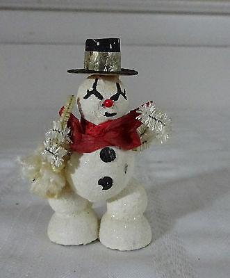 "Vintage Christmas Snow Man Figure  1950s  3.5""tall"