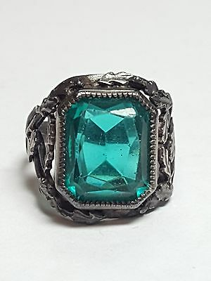 Victorian c.1880 Green Glass Sterling Silver Ring Size 4 - 3519 #17