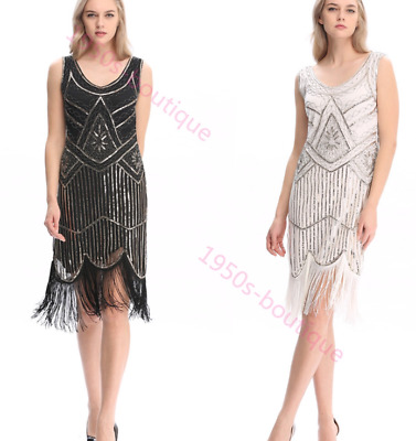 New 1920s gatsby vintage flapper lace sequin black white party maxi dress UK8-16