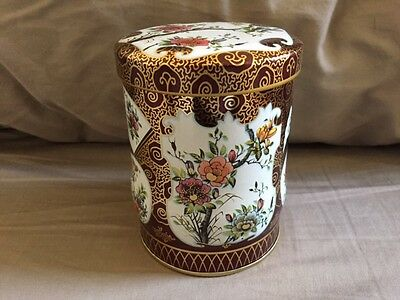 Vintage Round Daher Tin Gold Floral Container