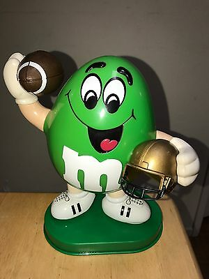 M&M's Limited Sports Edition Football Candy Dispenser~Rare Green Character