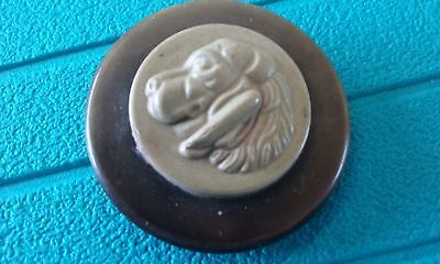Vintage wood button with dog head