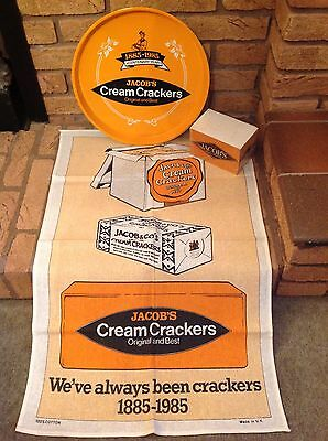 Jacobs Cream Cracker Tray, Note Block, Tea Towel Bundle Retro Collectible Rare