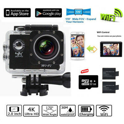 SJ8000 WiFi Ultra HD 1080P SJ4000 Camera Waterproof Action Helmet DV + 2 Battery