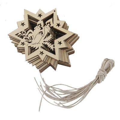 10pcs Ne wStars Candles Wooden Party Hanging Tag Embellishment with String