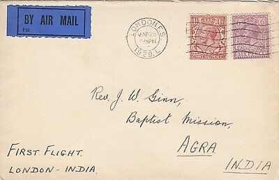 GB KGV cover 1929 C. Ginn & Co Stamp Dealers