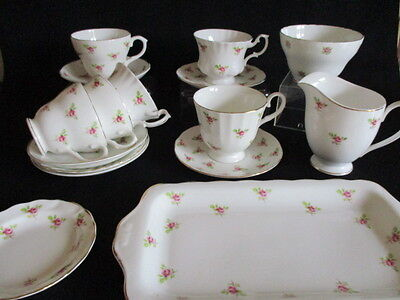 Vintage Pink Rosebuds English Bone china mismatched tea cups saucers x 6 & more