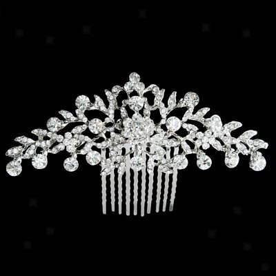 Wedding Bridal Flower Crystal Rhinestone Women Hair Comb Headpiece Jewelry