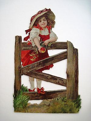 Vintage Die Cut Valentine w/Girl On Fence Holding an Apple w/Red Dress -Germany*