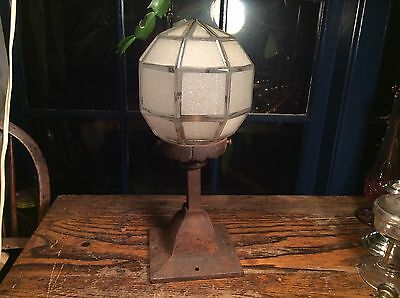 Antique Mission Arts Crafts Cast Iron  Porch Ceiling Light Fixture With Shade.