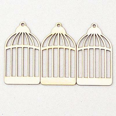 25pcs Wood birdcage Cutout Wooden Embellishment Art Craft Making Accessory