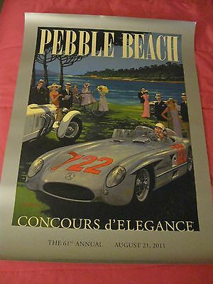 2011 Pebble Beach Concours poster Classic Collector car Stirling Moss Mercedes