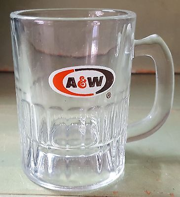 """A & W Baby Root Beer Glass 3"""" Tall - VINTAGE 1968 HOT ROD / CAR SHOWS"""