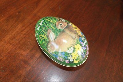 """Vintage Anne Mortimer Midwest Tin Metal Egg with Bunnies 1984 5"""" x 3"""""""