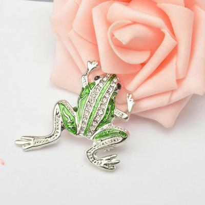 Novelty Crystal Frog Shape Brooch Pins Broach Pin Clip Animal Jewelry Gifts