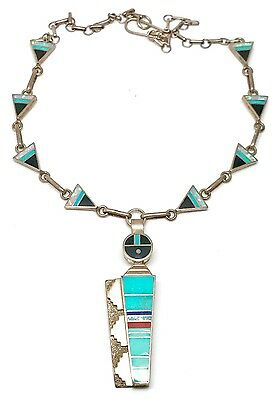 Navajo Handmade Sterling Silver Turquoise & Multi Color Inlay Necklace -H.Smith