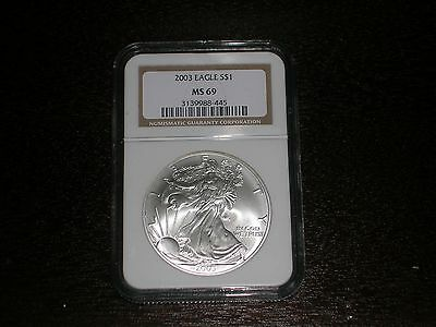 2003 $1 Silver Eagle NGC MS69 Gold Label LOOK